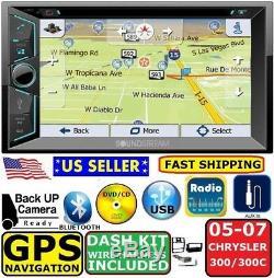 05 06 07 CHRYSLER 300 300C Double Din GPS Navigation Bluetooth Car Radio Stereo