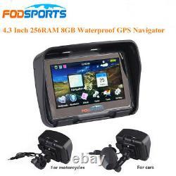 4.3 inch BT Motorcycle GPS Navigation Car Bike Bluetooth SAT NAV 8GB + Free Map