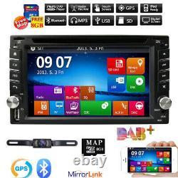 6.2 Double 2Din Car DVD CD Player GPS Navigation Radio Stereo Bluetooth +Camera