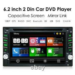 6.2 GPS Navigation 2Din HD Car Stereo DVD CD Player Bluetooth FM Radio+Camera