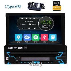 7 Single 1 Din GPS Navigation Car Stereo CD DVD Player Radio BT RDS AUX +Camera