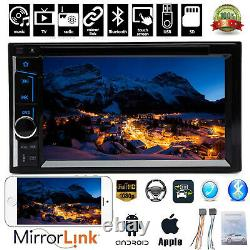 Car Stereo Bluetooth SD Radio 2 Din CD DVD Player Mirror Link For GPS Navigation