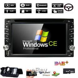 GPS Navigation HD Double 2DIN Car Stereo DVD Player Bluetooth iPod MP3 TV+Camera