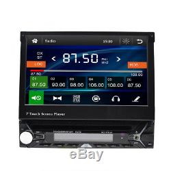 GPS Navigation Map 1DIN Car Stereo CD/DVD Player 7 Flip Up Radio Touch Screen