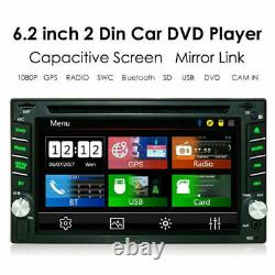 GPS Navigation With Map Bluetooth Radio Double Din 6.2 Car Stereo DVD Player US