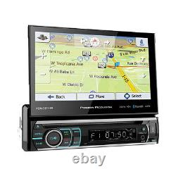 Power Acoustik PDN-721HB 1 DIN CD/DVD Player 7 Flip Up GPS Navigation Bluetooth