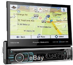 Power Acoustik PDN-721HB 1 DIN DVD CD Player 7 Flip Up GPS Navigation Bluetooth
