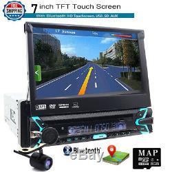Single 1 DIN 7 Touchscreen Bluetooth USB/DVD/CD Car Stereo GPS Navigation +MAP