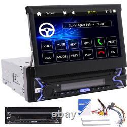 Single DIN Flip-Out 7 Car Stereo TF/USB/Bluetooth Car Radio GPS Navigation 1din