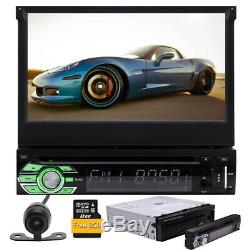 Single Din Car Stereo Radio DVD Player Bluetooth GPS Navigation with Map+Camera